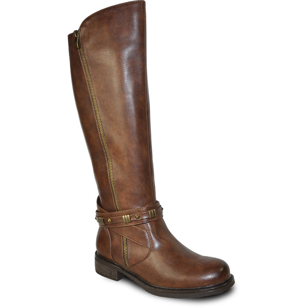 VANGELO Women Boot HF8414 Knee High Casual Boot Brown