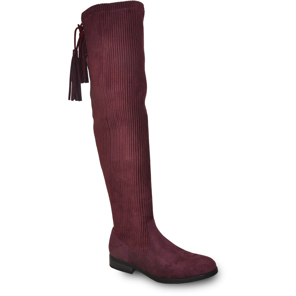 VANGELO Women Boot HF8417 Over-The-Knee Dress Boot Bordo Red