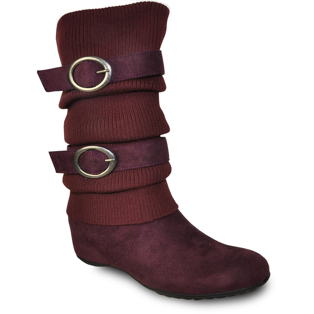 VANGELO Women Boot HF8418 Knee High Casual Boot Bordo Red