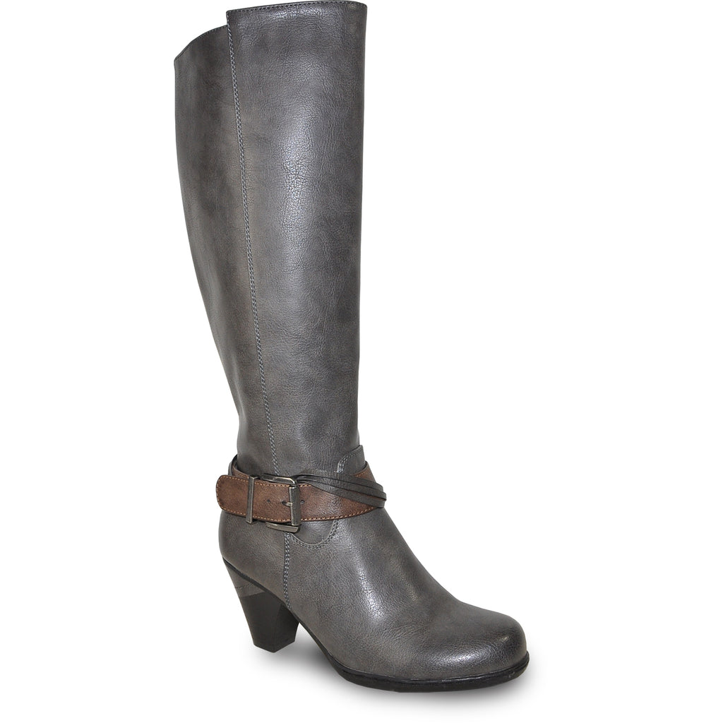 VANGELO Women Boot HF8420 Knee High Dress Boot Grey