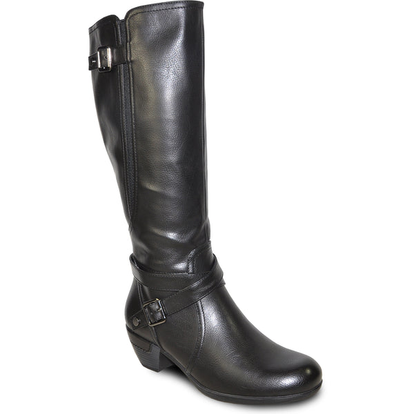 VANGELO Women Boot HF9423W Knee High Dress Boot Black Wide Calf