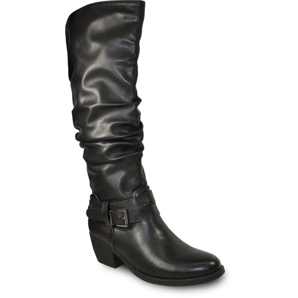 VANGELO Women Boot HF9425 Knee High Dress Boot Black