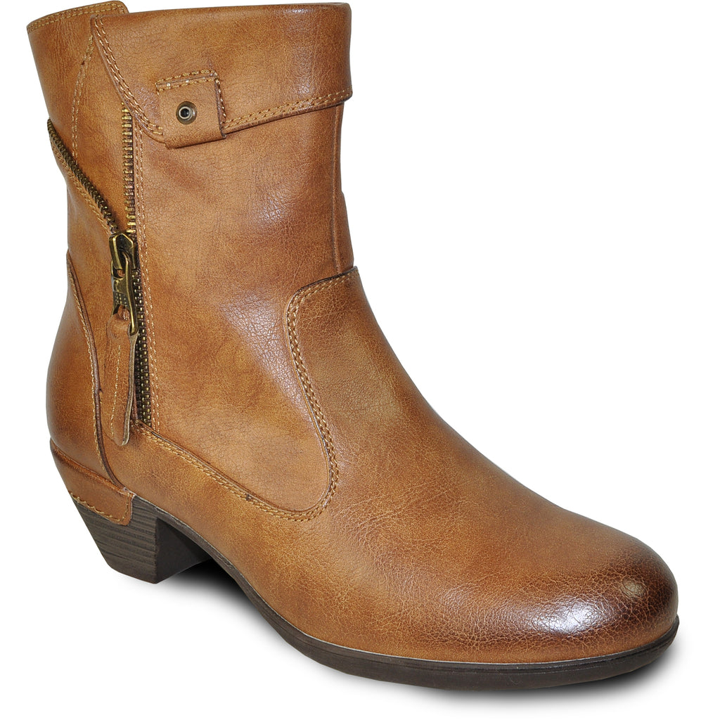VANGELO Women Boot HF9431 Ankle Dress Boot Cognac Brown