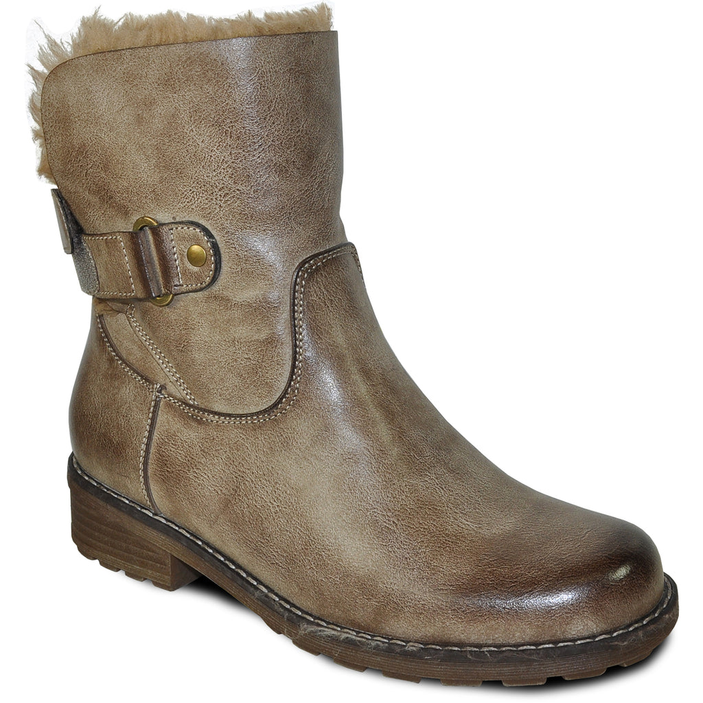 VANGELO Women Water Proof Boot HF9536 Ankle Winter Fur Casual Boot Taupe Brown
