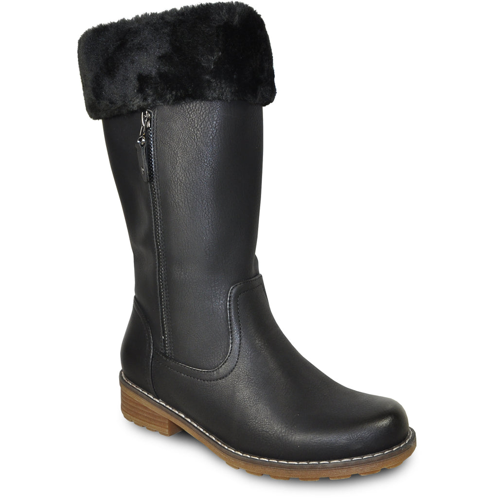 VANGELO Women Water Proof Boot HF9539 Knee High Winter Fur Casual Boot Black