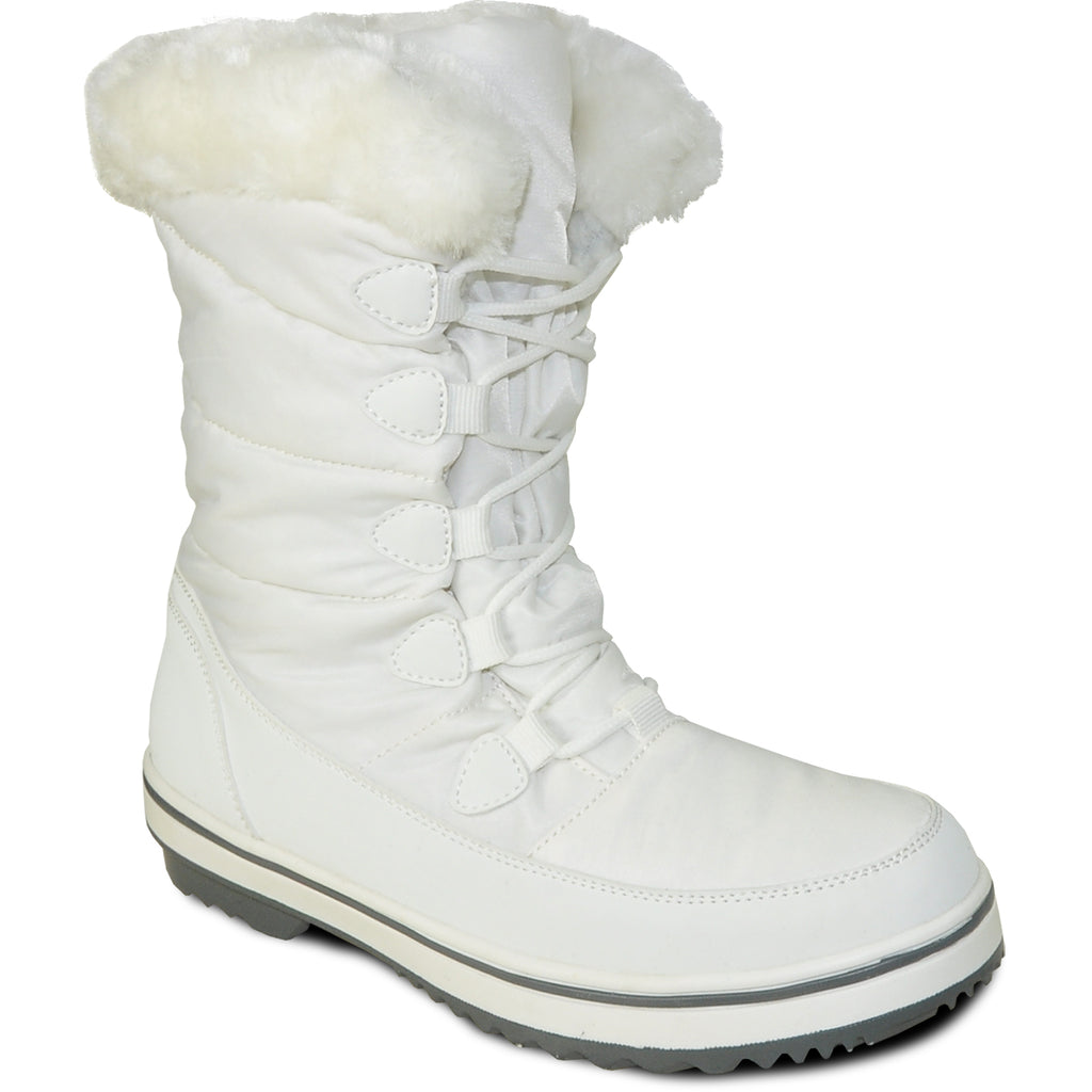 VANGELO Women Water Proof Boot JL9517 Ankle Winter Fur Casual Boot White