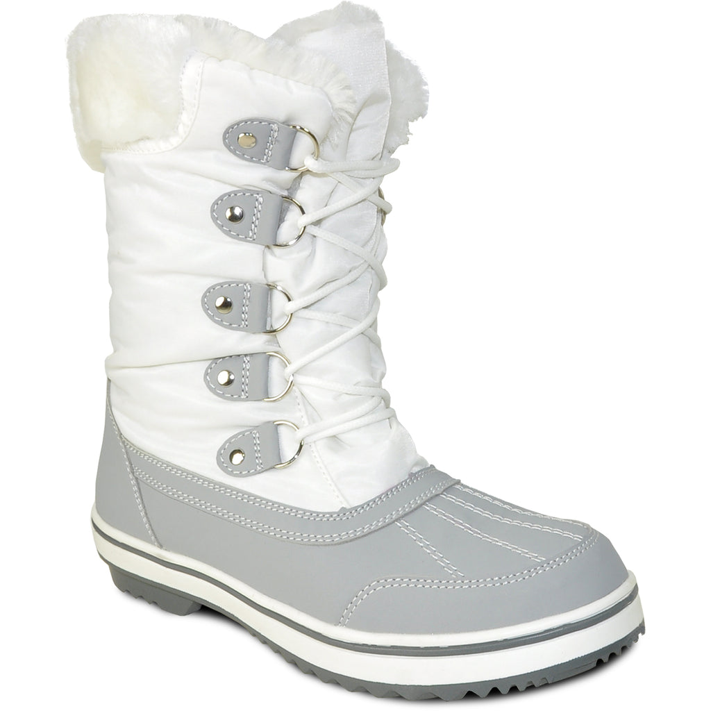 VANGELO Women Water Proof Boot JL9518 Ankle Winter Fur Casual Boot White