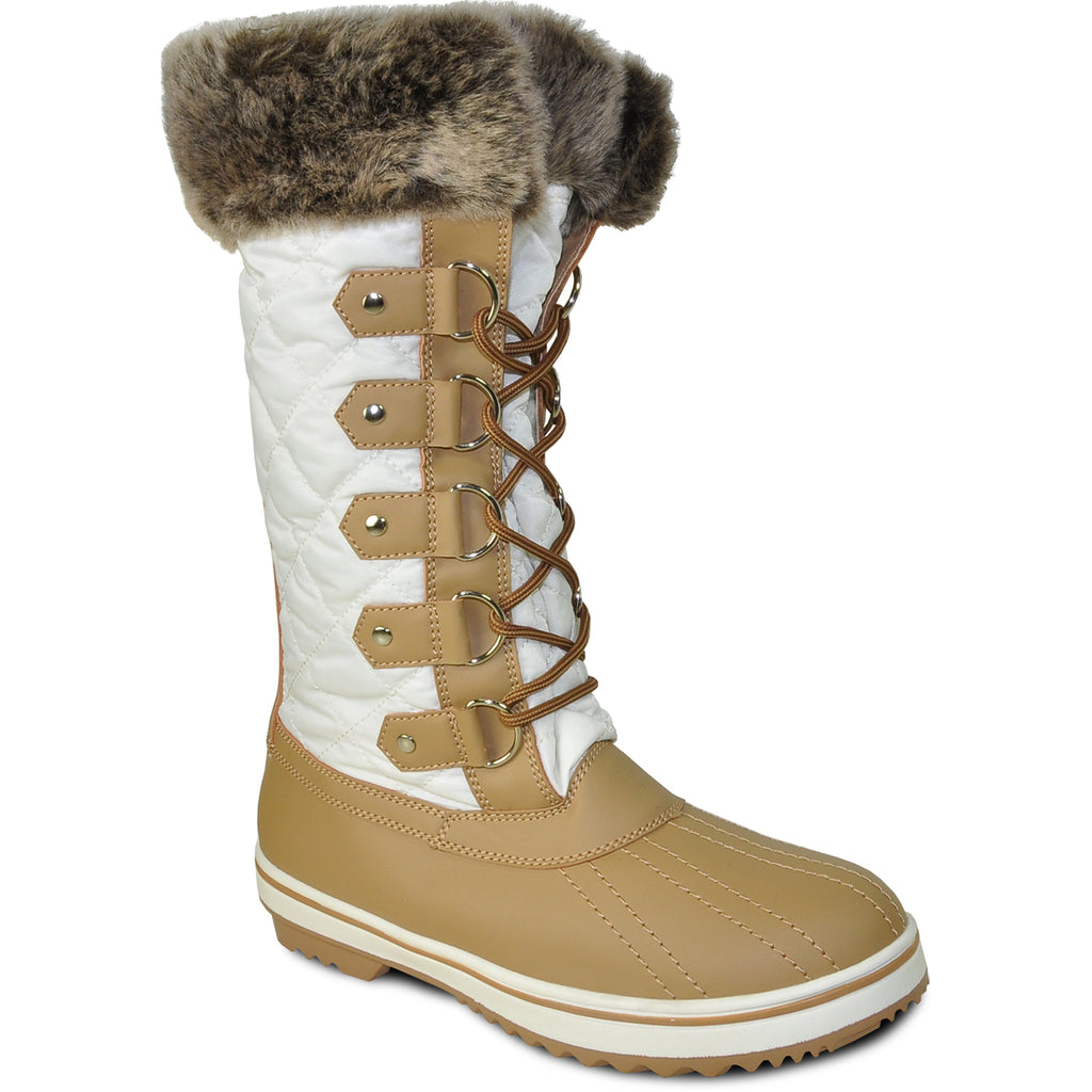 VANGELO Women Water Proof Boot JL9519 Knee High Winter Fur Casual Boot White