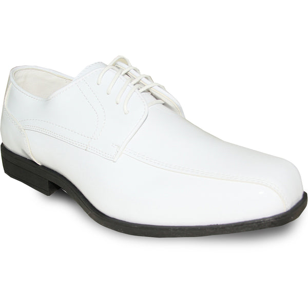 JEAN YVES Men Dress Shoe JY02 Oxford Formal Tuxedo for Prom & Wedding Shoe White Patent - Wide Width Available