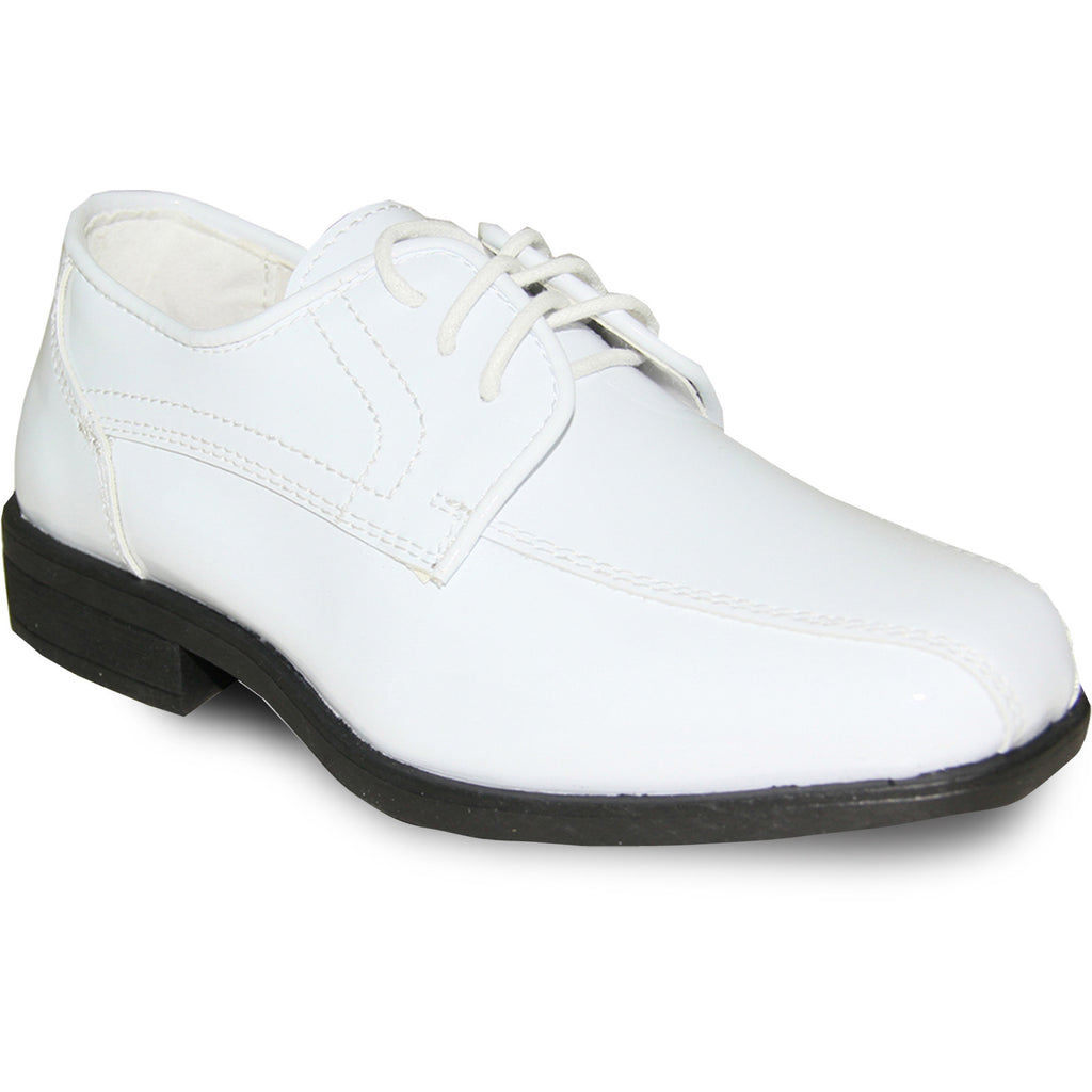 JEAN YVES Boy JY02KID Dress Shoe Formal Tuxedo for Prom & Wedding White Patent