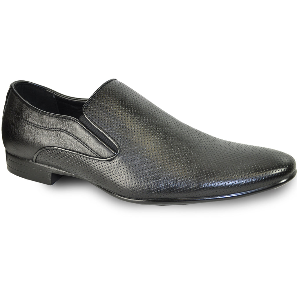 BRAVO Men Dress Shoe KLEIN-3 Loafer Shoe Black with Leather Lining