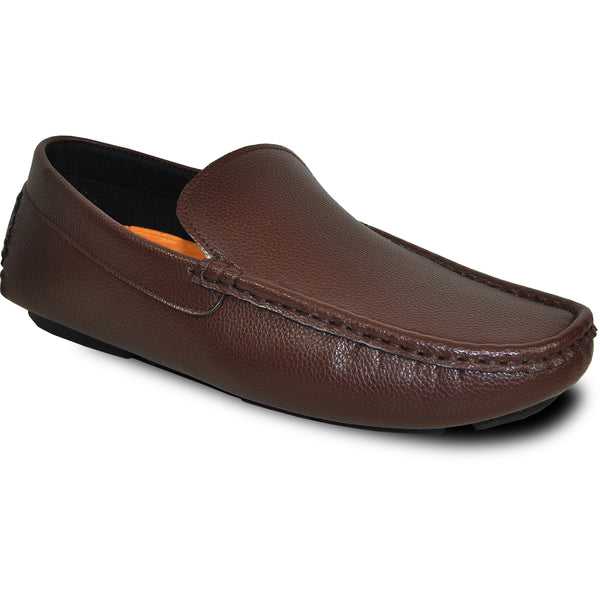 VANGELO Men Casual Shoe MOCCA-1 Driving Moccasin Brown with Ortholite Removable Insole