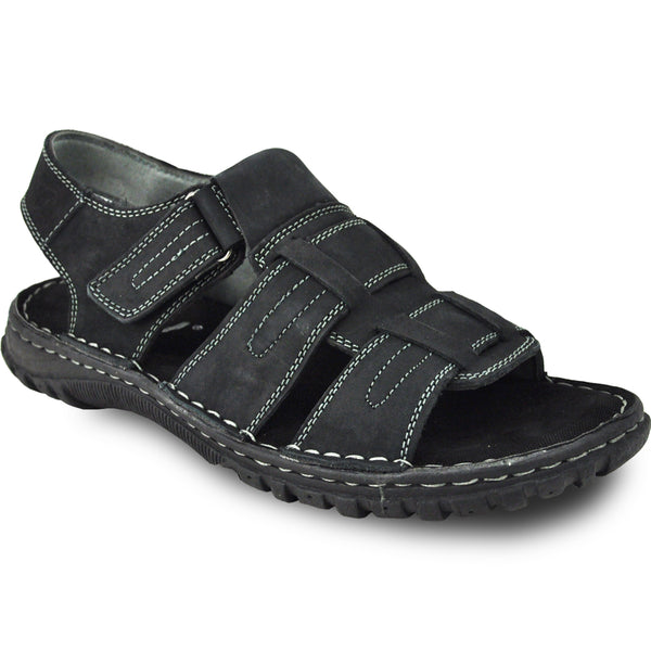 KOZI Men Leather Sandal NEW DIEGO-06 Black