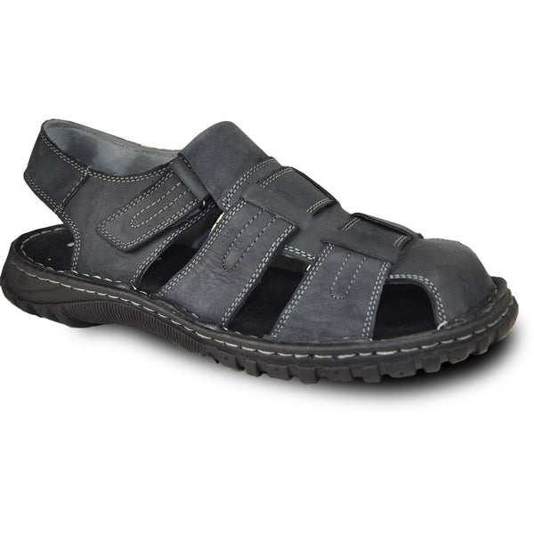 KOZI Men Leather Sandal NEW DIEGO-07 Black
