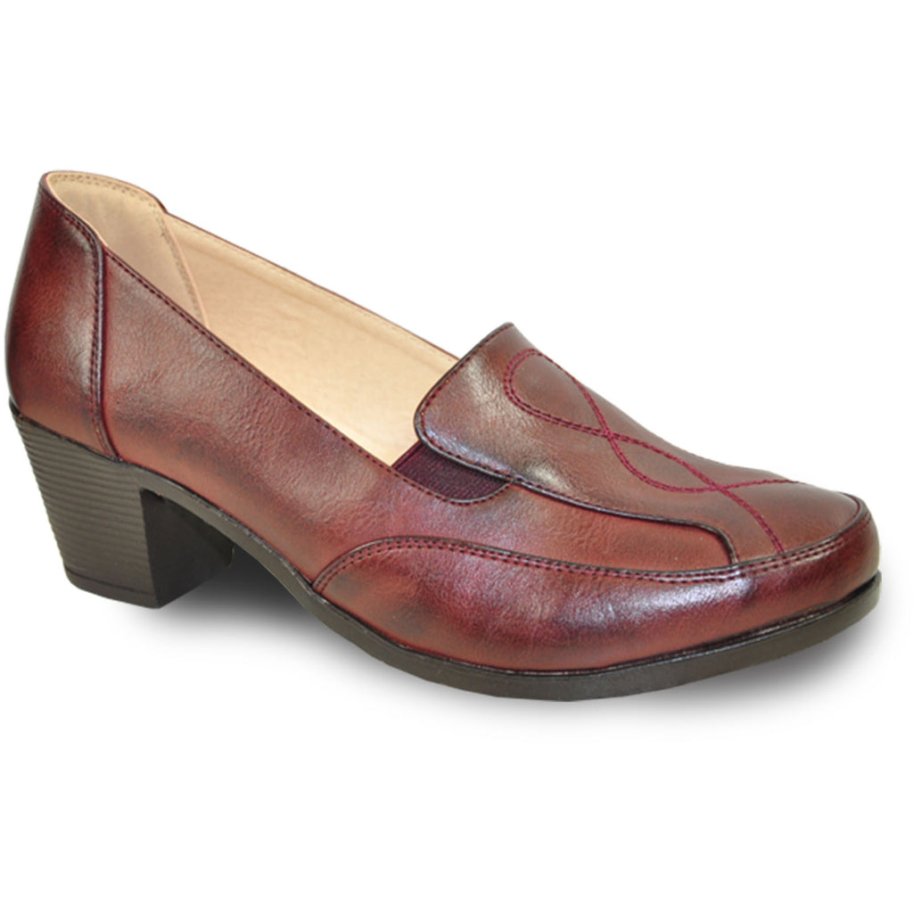 KOZI Women Dress Shoe OY5309 Heel Shoe Burgundy Red