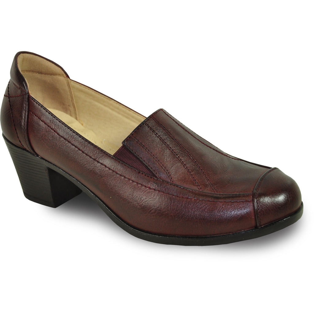 KOZI Women Dress Shoe OY6277 Heel Shoe Burgundy Red