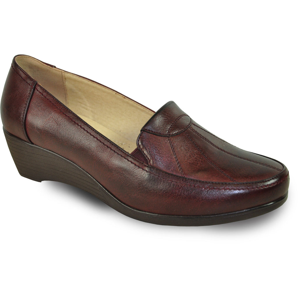 KOZI Women Dress Shoe OY6278 Wedge Shoe Burgundy Red