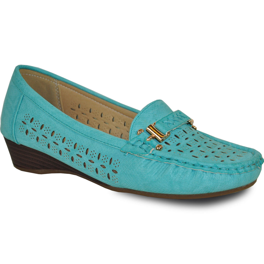 KOZI Women Dress Shoe OY6290 Wedge Shoe Turquoise Blue