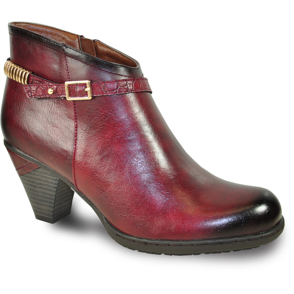VANGELO Women Boot SD6402 Ankle Dress Boot Bordo Red