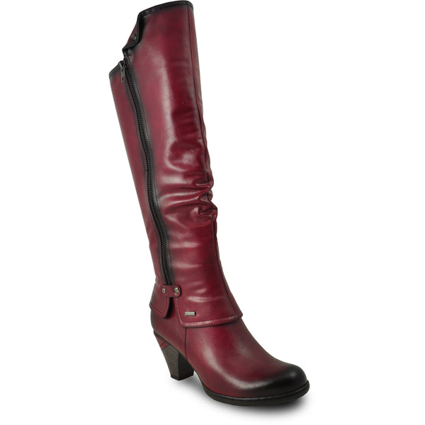 VANGELO Women Boot SD7408 Knee High Dress Boot Bordo Red