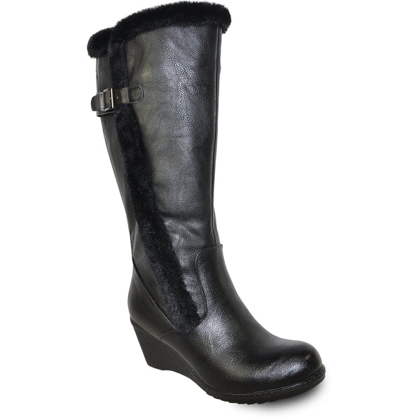 VANGELO Women Boot SD9527 Knee High Winter Fur Dress Boot Black
