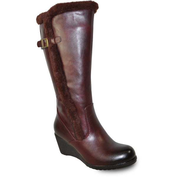 VANGELO Women Boot SD9527 Knee High Winter Fur Dress Boot Bordo Red