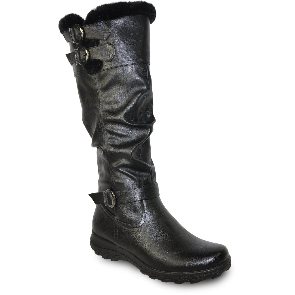 VANGELO Women Boot SD9528 Knee High Winter Fur Casual Boot Black