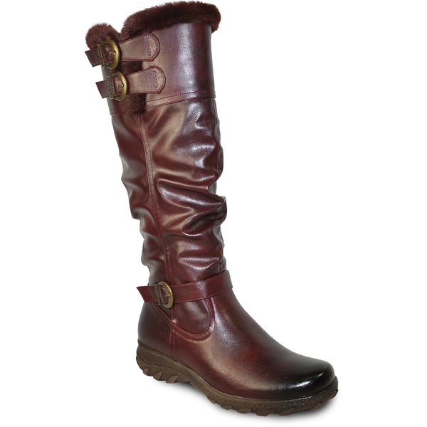 VANGELO Women Boot SD9528 Knee High Winter Fur Casual Boot Bordo Red