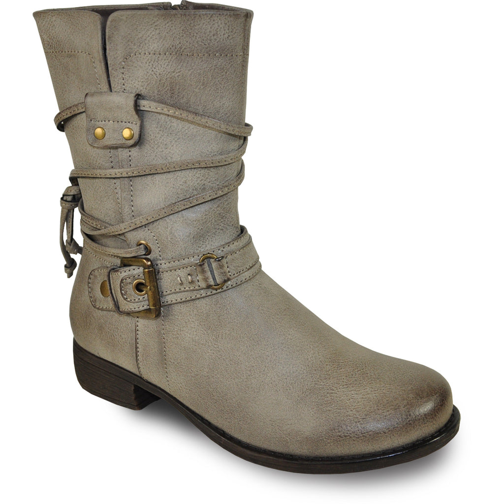 VANGELO Women Boot SW4430 Ankle Casual Boot Stone Grey