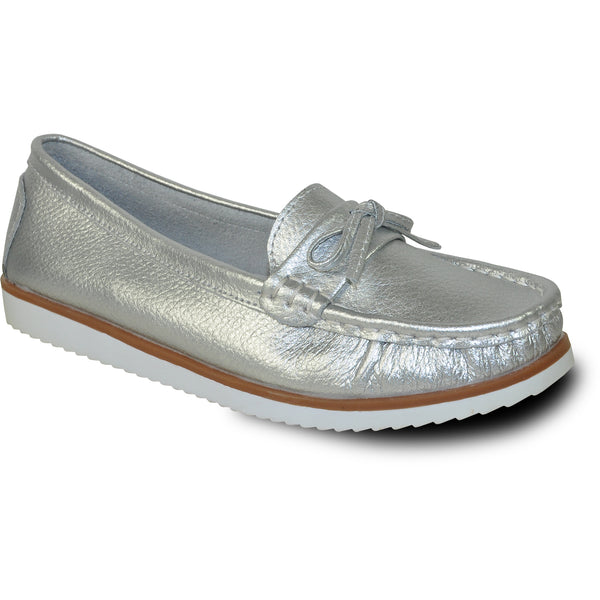 KOZI Women Leather Casual Shoe TH9254 Comfort Shoe Silver