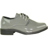VANGELO Boy TUX-1KID Dress Shoe Formal Tuxedo for Prom & Wedding Grey Patent