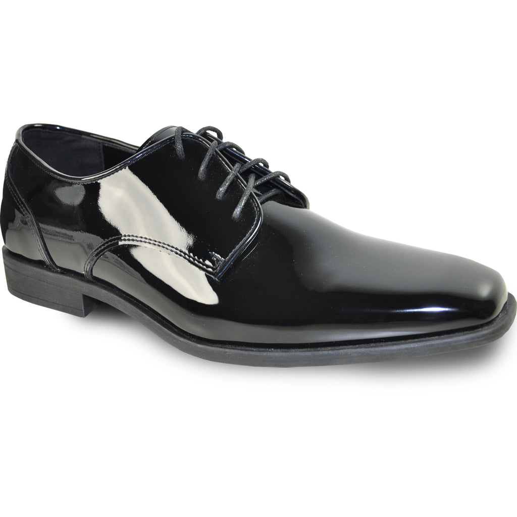 VANGELO Men Dress Shoe TUX-2 Oxford Formal Tuxedo for Prom & Wedding Black Patent - Wide Width Available