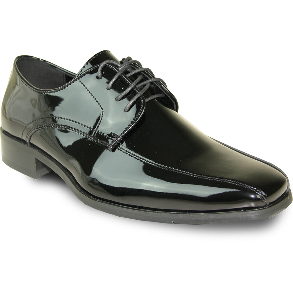 VANGELO Men Dress Shoe TUX-5 Oxford Formal Tuxedo for Prom & Wedding Black Patent - Wide Width Available