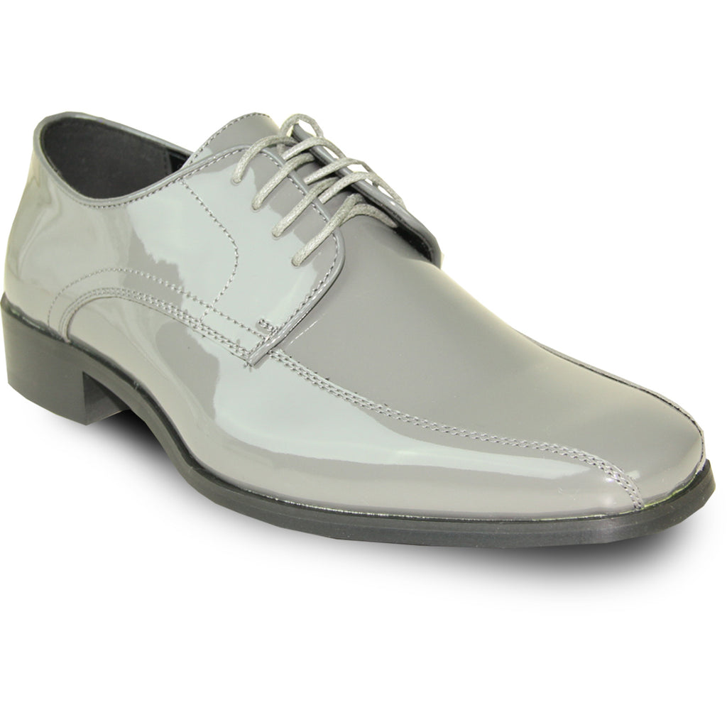 VANGELO Men Dress Shoe TUX-5 Oxford Formal Tuxedo for Prom & Wedding Grey Patent - Wide Width Available