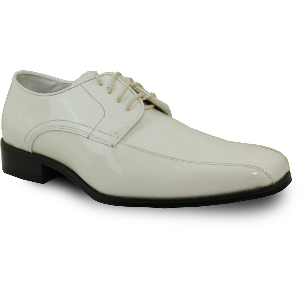 VANGELO Men Dress Shoe TUX-5 Oxford Formal Tuxedo for Prom & Wedding Ivory Patent - Wide Width Available