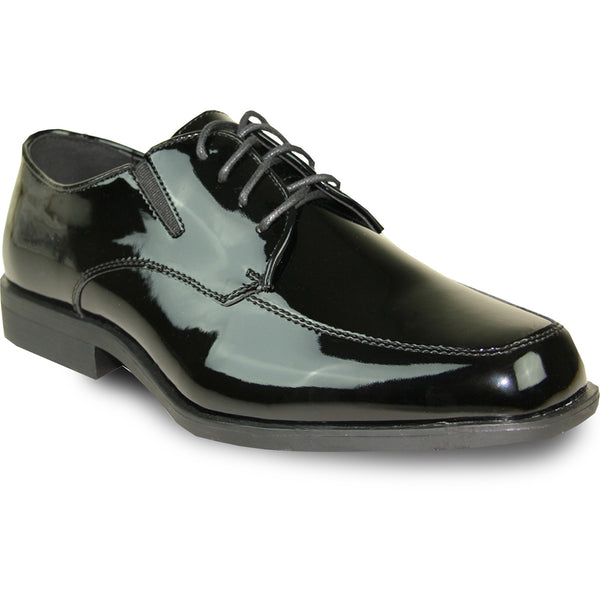 VANGELO Men Dress Shoe TUX-7 Oxford Formal Tuxedo for Prom & Wedding Black Patent - Wide Width Available