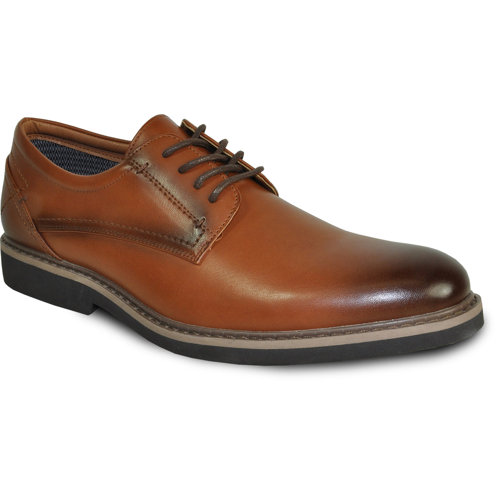 VANGELO Men Dress Shoe VALLO-1 Oxford Formal Tuxedo for Prom and Wedding Brown Matte - Wide Width Available - Ortholite Insole