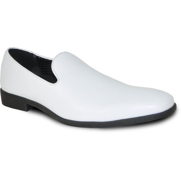 VANGELO Men Dress Shoe VALLO-3 Loafer Formal Tuxedo for Prom & Wedding White Matte - Wide Width Available - Ortholite Insole