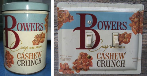 From a Bowers Crunch tin to a vintage switch plate.