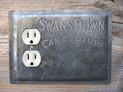 Vintage Swans Down baking pan custom made for an outlet too close to trim.