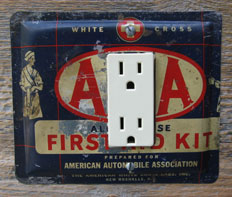 Custom AAA First Aid tin GFCI cover made from a tin provided.