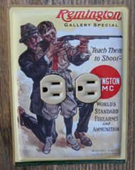 Sideways outlet cover made from a Remington Ammunition tin provided.