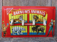 Quad Switch Plate Made From Barnums Animal Crackers Tins