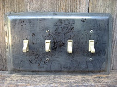 Quad Switch Plates Made From Vintage Pie Pans