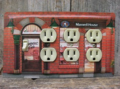 Quad Switch Plate With Outlets Made From Maxwell House Tin