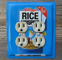 Double outlet cover outlet cover custom made from a Kelloggs Rice Krispies tin.