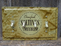 Quad Switch Plates Made From Vintage Saltines Tins