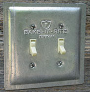 The final product is a reproduction baking pan switch plate.