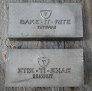 We use embossing dies designed with our own fictitious brand names on them.