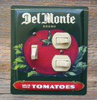 Combo outlet switch plate made from a Del Monte Tomatoes tin by request.